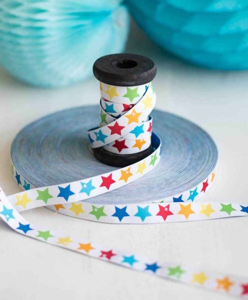 3m roll webbing Design by Graziela - 15mm wide, rainbow-stars