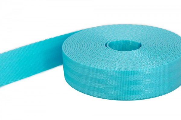 1m safety webbing - turquoise - made of polyamide - 25mm wide - load capacity: up to 1t