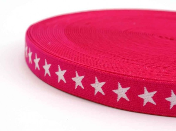 elastic webbing with stars - 20mm wide - color: pink - 3m roll